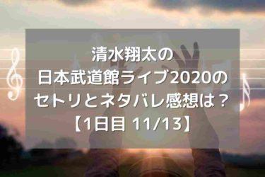 清水翔太の日本武道館ライブ2020のセトリとネタバレ感想は?【1日目11/13】