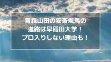 青森山田の安斎颯馬の進路は早稲田!プロ入りしない理由も!