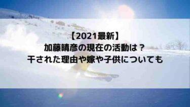 【2021最新】加藤晴彦の現在の活動は?干された理由や嫁や子供についても