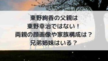 東野絢香の父親は東野幸治ではない!両親の顔画像や家族構成は?兄弟姉妹はいる?