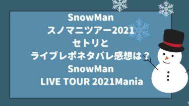 SnowManのセトリ2021とライブレポネタバレ感想は?スノマニ【SnowMan LIVE TOUR 2021Mania】